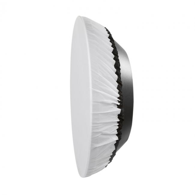 22 white high output beauty dish profile with diffusion fabric