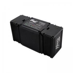 LINK battery charger at an angle with two batteries
