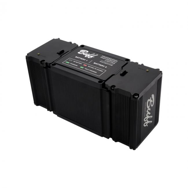 LINK battery charger shown with two batteries
