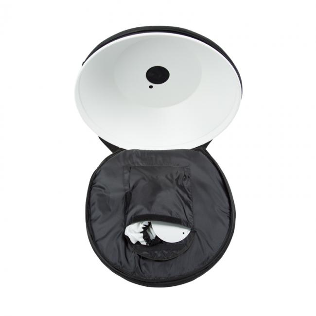 22 inch reflector bag opened with dish inside
