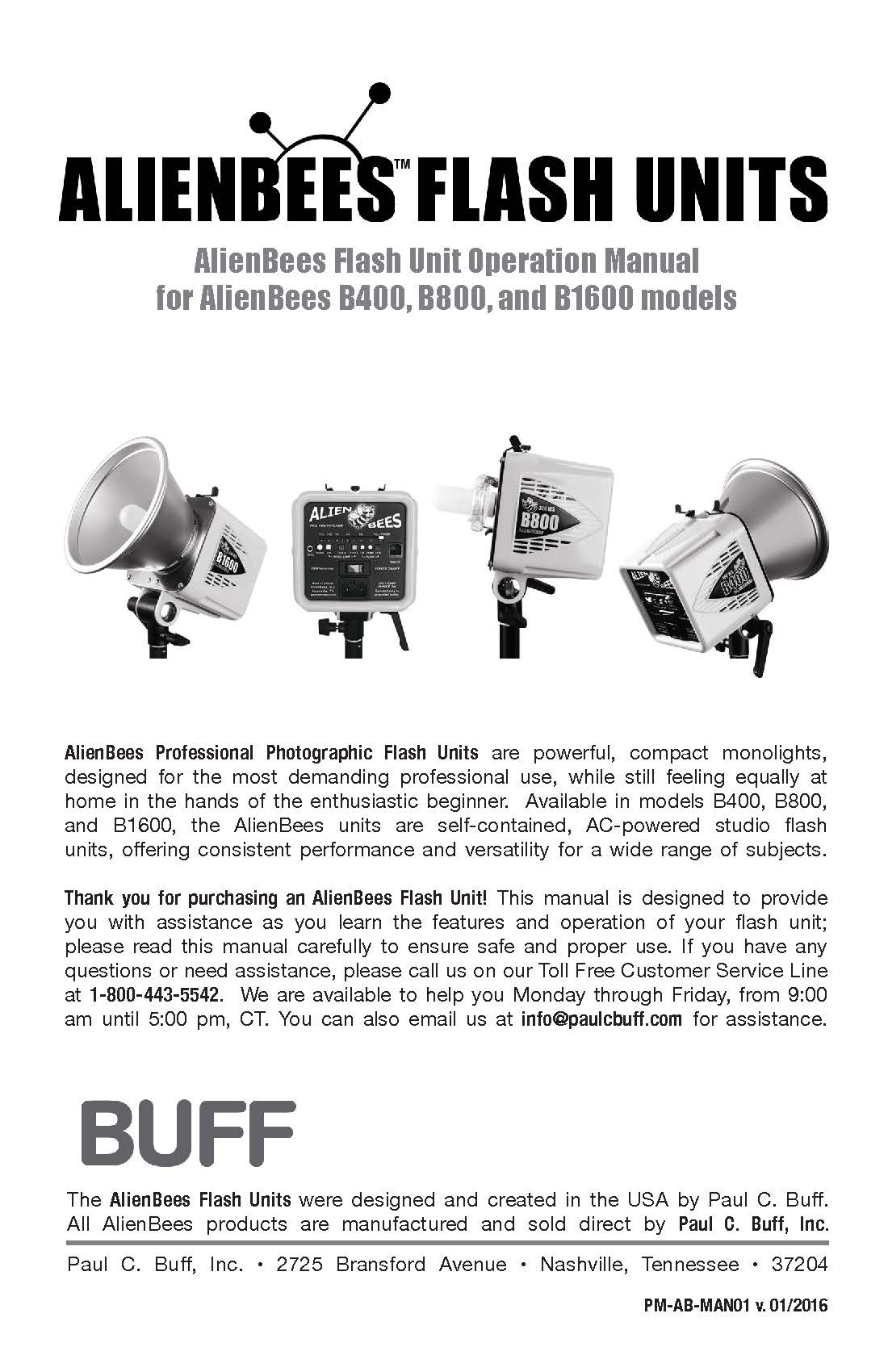 Alienbees Flash Unit Operation Manual For B400 B800 And Source Tube Circuit B1600 Models