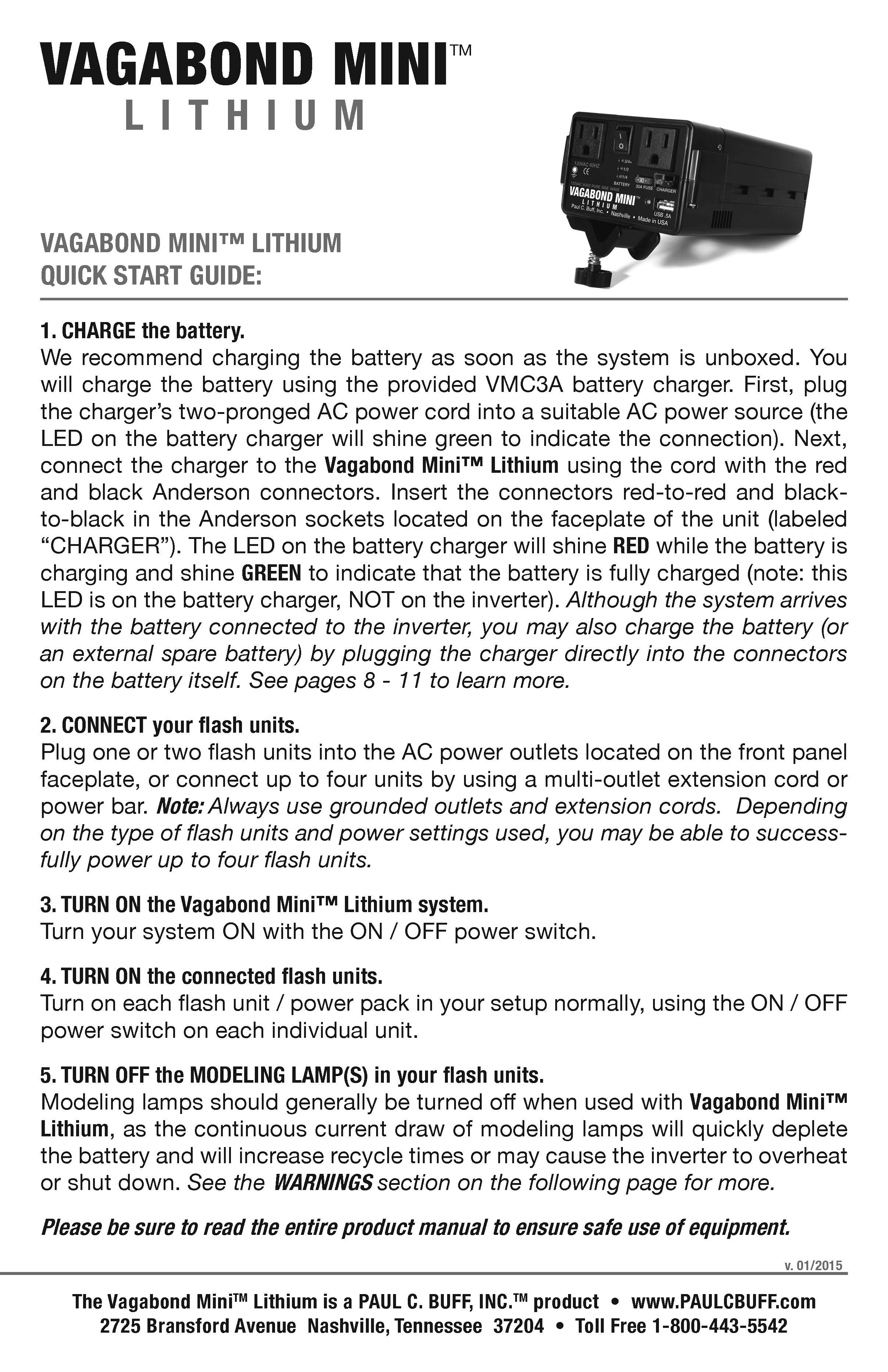 Paul C Buff Inc Manuals And Instructions 3 Way Switch Wiring Diagram For Free Download Ex 120 Vagabond Mini Lithium Manual