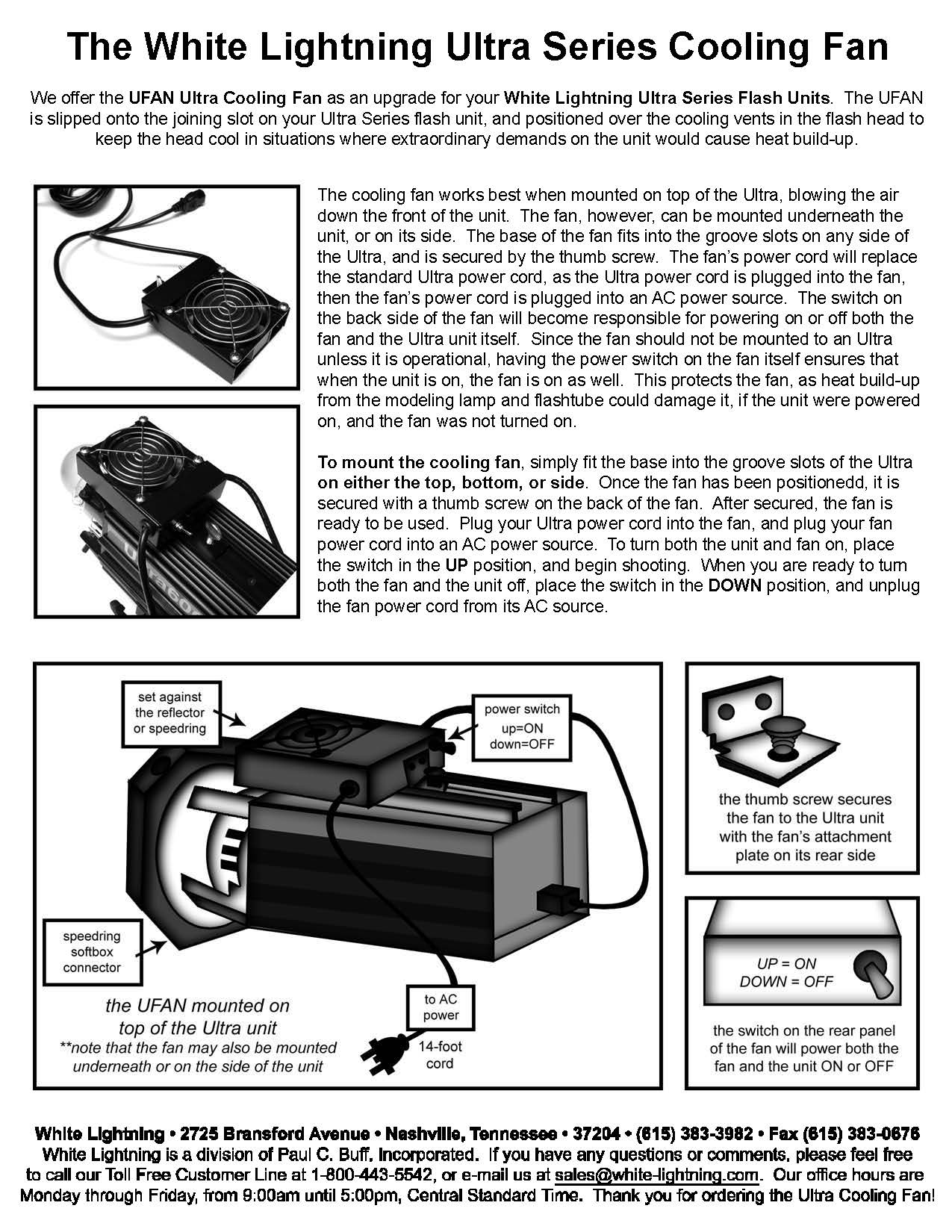 White Lightning Ultra Series Cooling Fan Instructions
